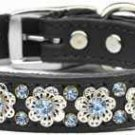 "16""-20"" Leather Fancy Flower Crystal Dog Collar"