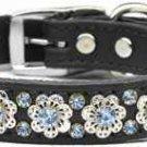 """22""""-26"""" Leather Fancy Flower Crystal Dog Collar"""