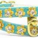Unique 2 Strip Crystal Flower Filigree Dog Collar