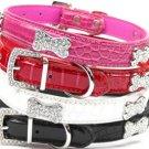 XSmall Faux Croc Crystal Jewel Bling Bone & Buckle Dog Collar