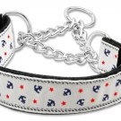 "Med 10"" - 18"" White Adjustable Nylon Anchor Safety Dog Collar with FREE SHIPPING"