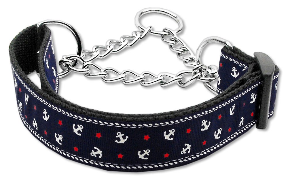 Med 10� - 18� Navy Blue Adjustable Nylon Anchors Safety Dog Collar with FREE SHIPPING