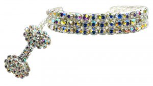 Glam Collar for Dogs SIZE SMALL Clear Austrian Crystal Shimmer Pet Jewelry