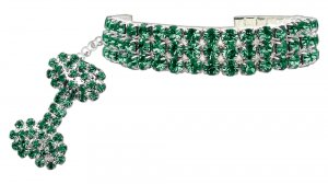 Glam Collar for Dogs SIZE LARGE Emerald Green Austrian Crystal Stretch Pet Jewelry