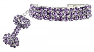 Glam Collar for Dogs SIZE LARGE Lavender Austrian Crystal Stretch Pet Jewelry