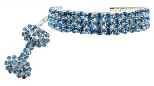 Glam Collar for Dogs SIZE LARGE Blue Austrian Crystal Stretch Pet Jewelry