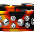 SZ 10, 12 & 14 Punky Spiked Flame Dog Collar
