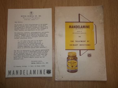 VINTAGE 1950 MANDELAMINE DRUG PROMO BOOK & ORIGINAL NEPERA CHEMICAL CO LETTER