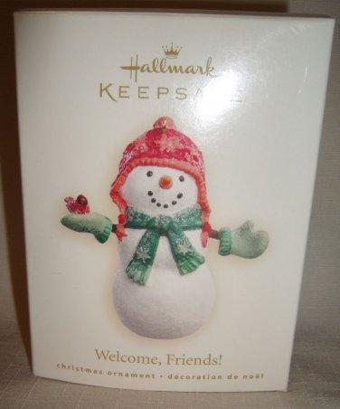 2007 HALLMARK WELCOME FRIENDS SNOWMAN CHRISTMAS ORNAMENT