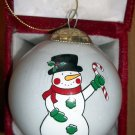 "SNOWMAN Christmas Ornament Blown GLASS GLOBE 3"" HAND PAINTED"