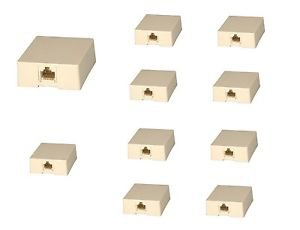 10 Pieces of RJ45 Surface Wall Mount Ethernet Jack Single 8P8C - 100% New!
