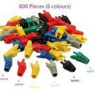 600 Pieces (6 colours)  RJ45 CAT5 CAT5E CAT6 Modular End Cap Boot - 100% New!