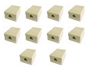 10 Pieces of RJ11 Surface Wall Mount Telephone Jack Single 6P4C - 100% New!
