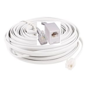20 Feet RJ11 Modular Telephone Extension Cable Straight White 6P4C - 100% New!