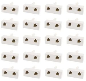 20 Pieces of BT Male to 2 x RJ11 Female Telephone Adapter 6P4C - 100% New!