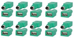 20 Pieces of PS2 Male to USB A Female Adapter Green  - 100% New!