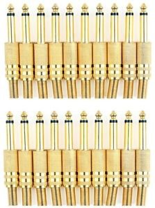 20 Pieces of 6.3mm Male Stereo Gold Jack with Spring - 100% New!