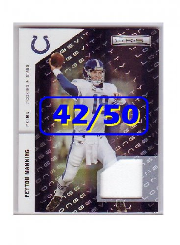 #/50 Peyton Manning 2011 Rookies & Stars Longevity Materials Black Prime #66 Colts, Broncos