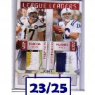 #/25 Peyton Manning 2009 Prestige League Leaders Dual Prime Jerseys #3 Colts, Chargers, Broncos