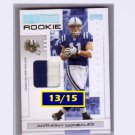 #/15 Anthony Gonzalez 2007 Playoff Authentic Prime Rookie Jersey #102 Colts