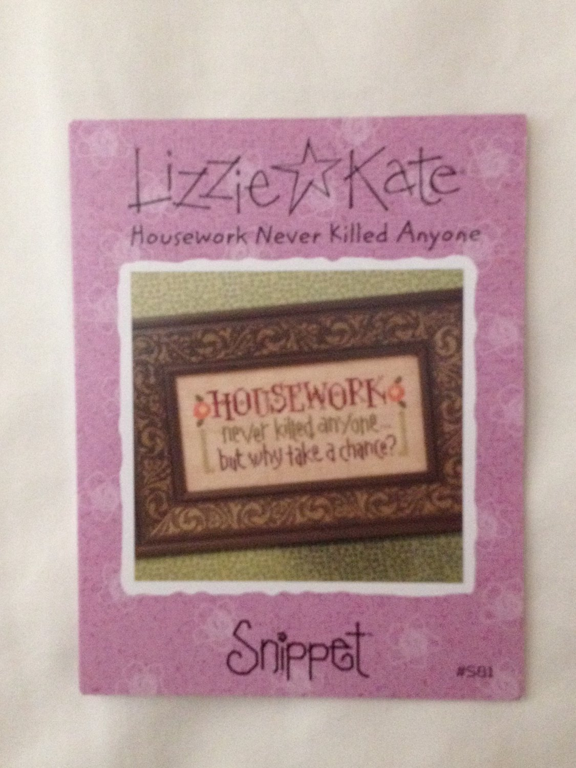 """LIZZIE KATE """"Housework Never Killed Anyone"""" Snippet pattern"""