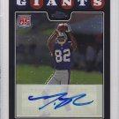 2008 Topps Chrome Autograph Mario Manningham Giants RC
