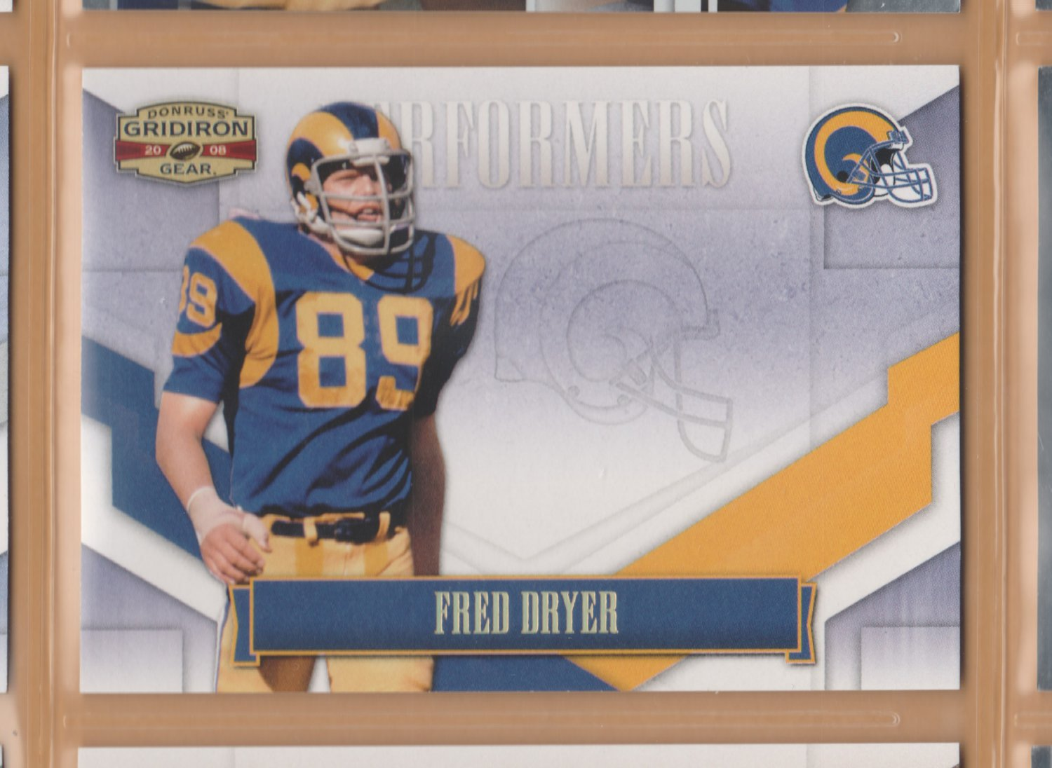 2008 Gridiron Gear Performers Gold Holofoil Fred Dryer Rams /100