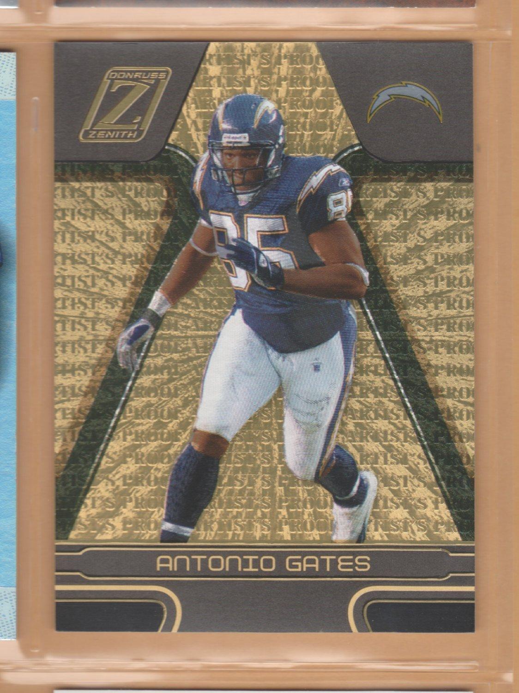 2005 Zenith Artist's Proof Gold Antonio Gates Chargers /50