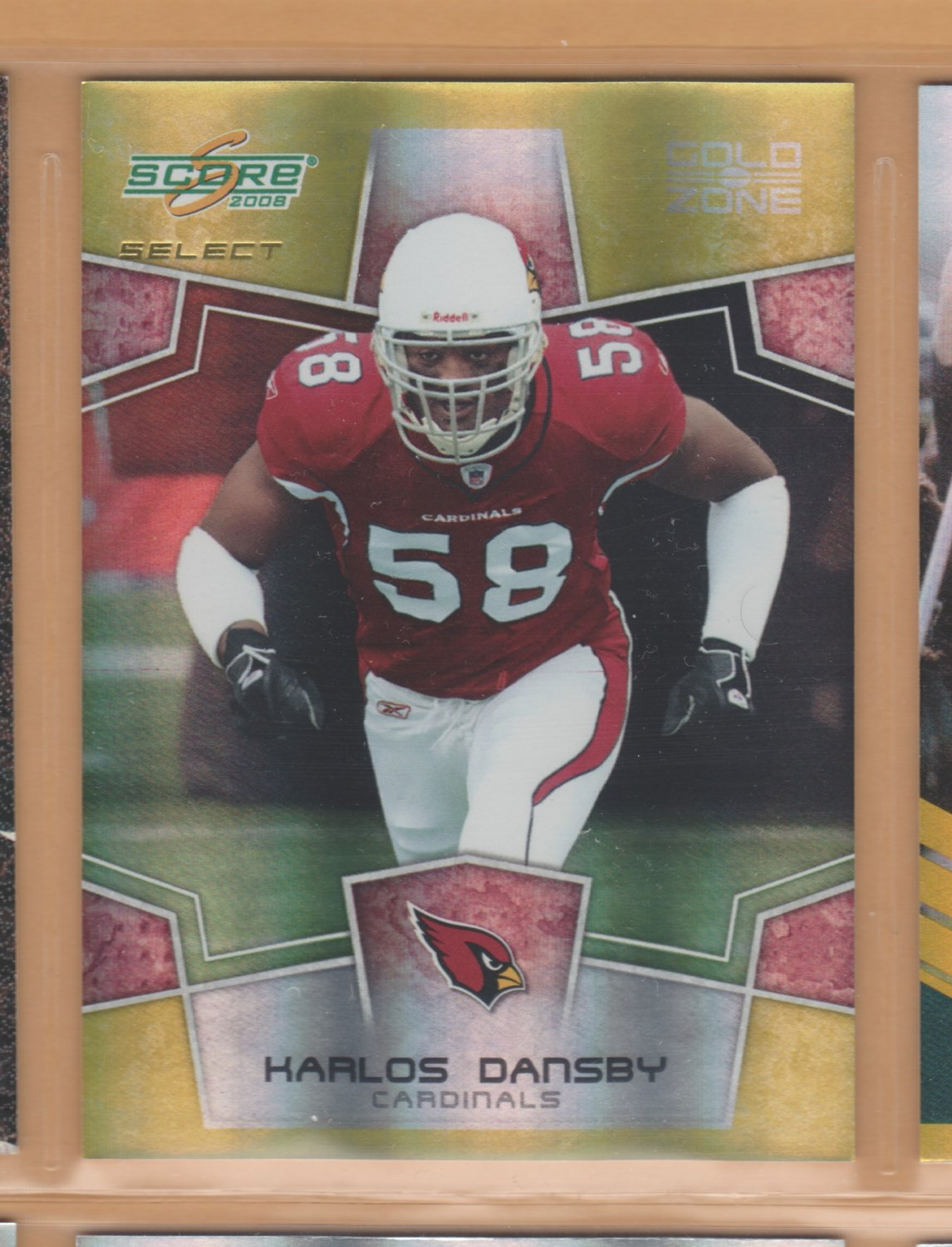 2008 Score Select Gold Zone Karlos Dansby Cardinals /50