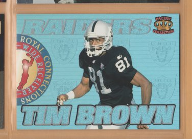 1995 Pacific Prisms Royal Connections Blue Holofoil Tim Brown Raiders