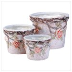 3 Pc Pottery Roses Flower Pots Set