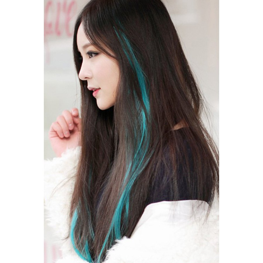 Fashion Candy Color Hair Extension,OP37374,light blue,one size