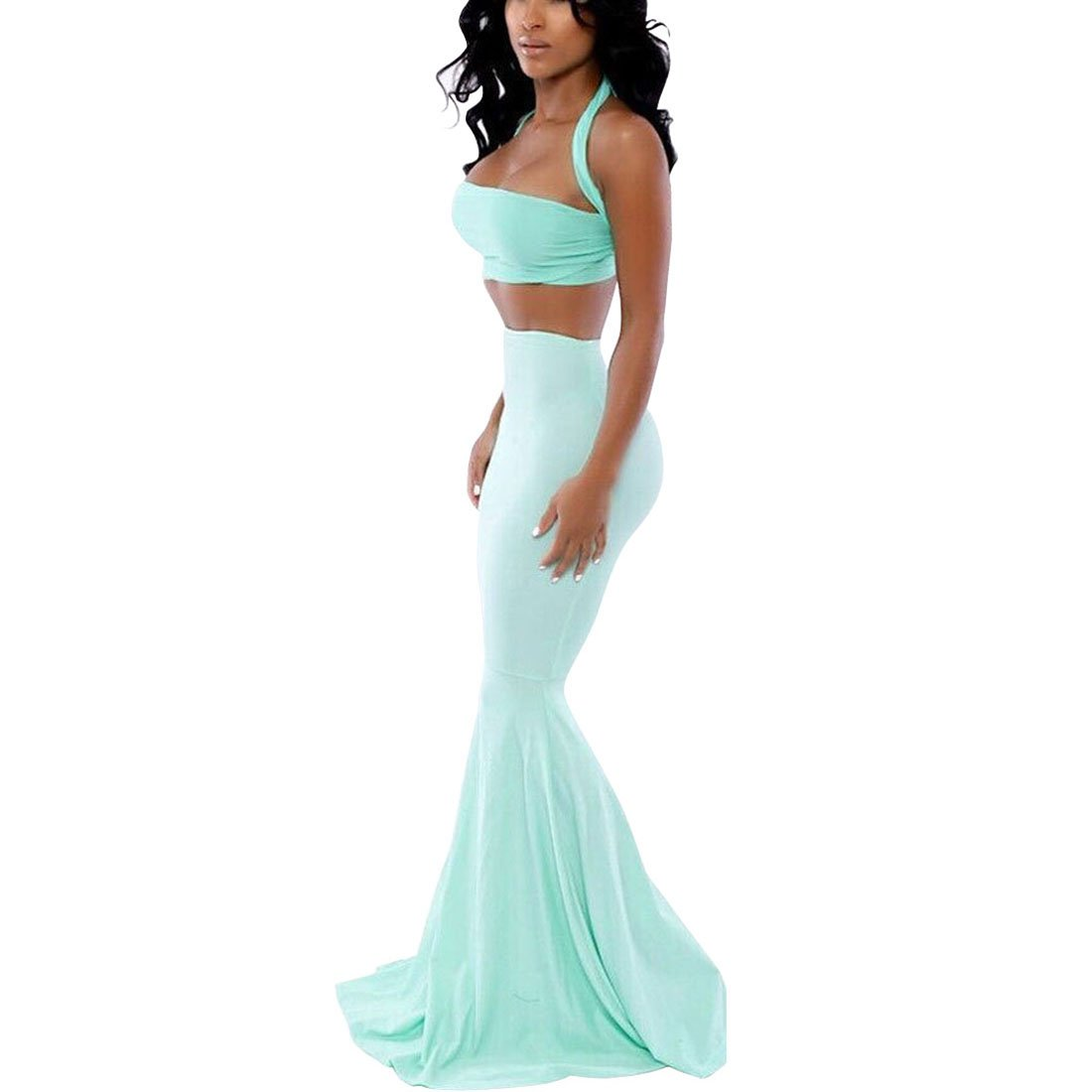 Women Halter Crop Top with Mermaid Maxi Skirt,mint green,L,OP53994
