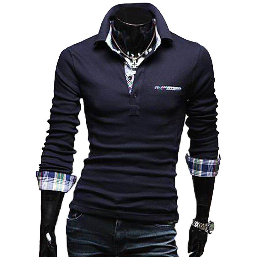 OASAP Tartan-Trim Long Sleeves Man Polo Shirt Men Casual Short-Sleeves T Shirt,OP44072,navy,L