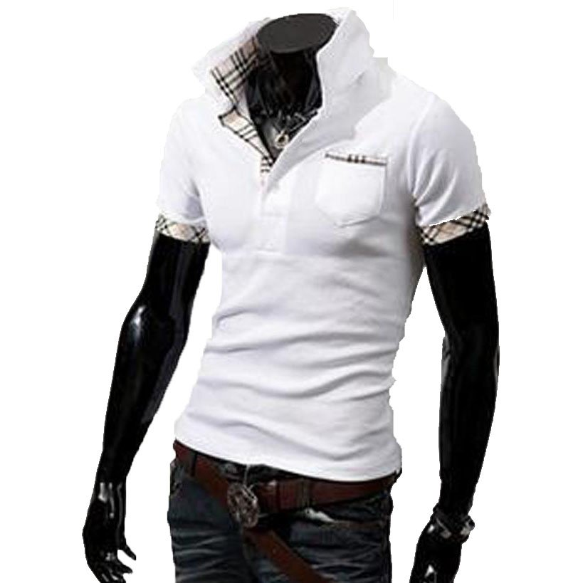 OASAP Tartan-Trim Long Sleeves Man Polo Shirt Men Casual Short-Sleeves T Shirt,OP44072,white,M
