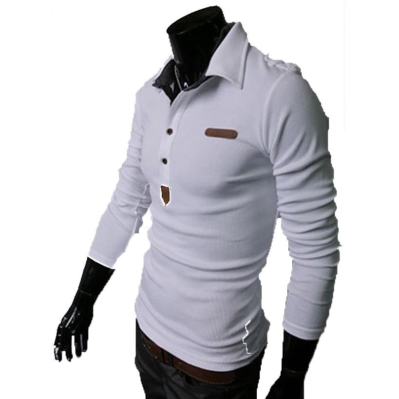 Essential Solid Man Polo Tee Men Long Sleeves Shirt Top,OP44318,white,M