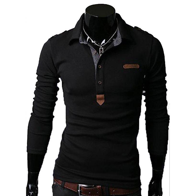 Essential Solid Man Polo Tee Men Long Sleeves Shirt Top,OP44318,black,XS