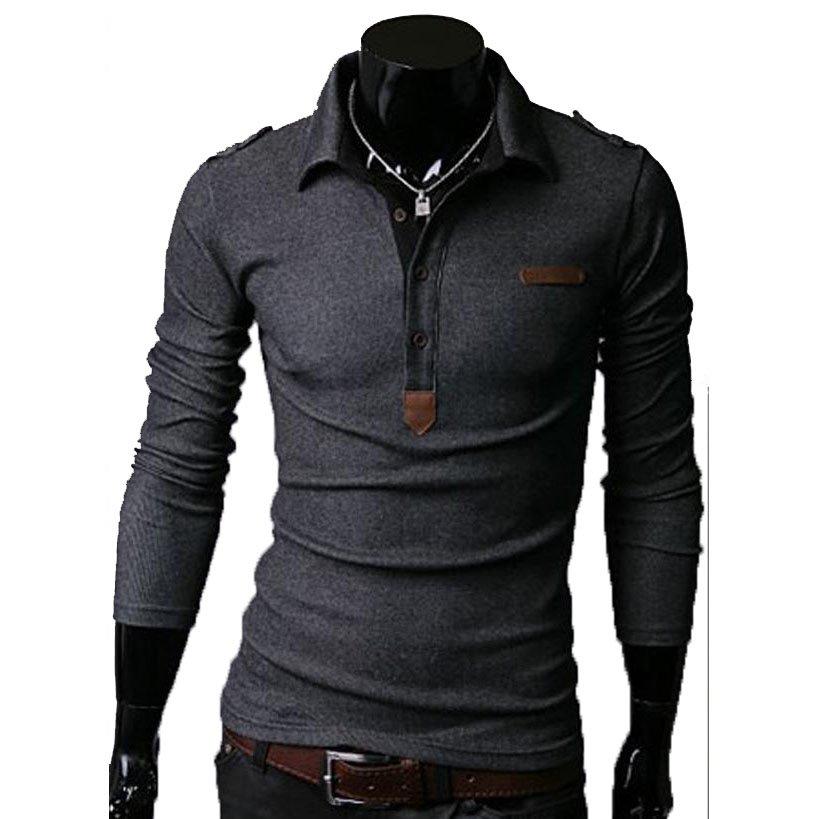 Essential Solid Man Polo Tee Men Long Sleeves Shirt Top,OP44318,grey,XS