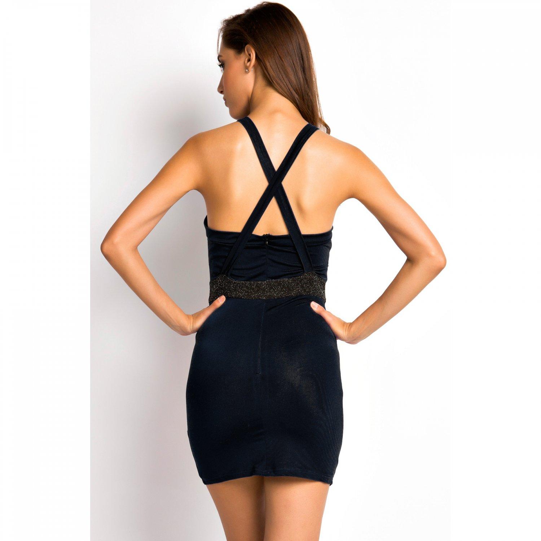 Knock-down Glitter Mesh Front Mini Dress,OP41103,black,M