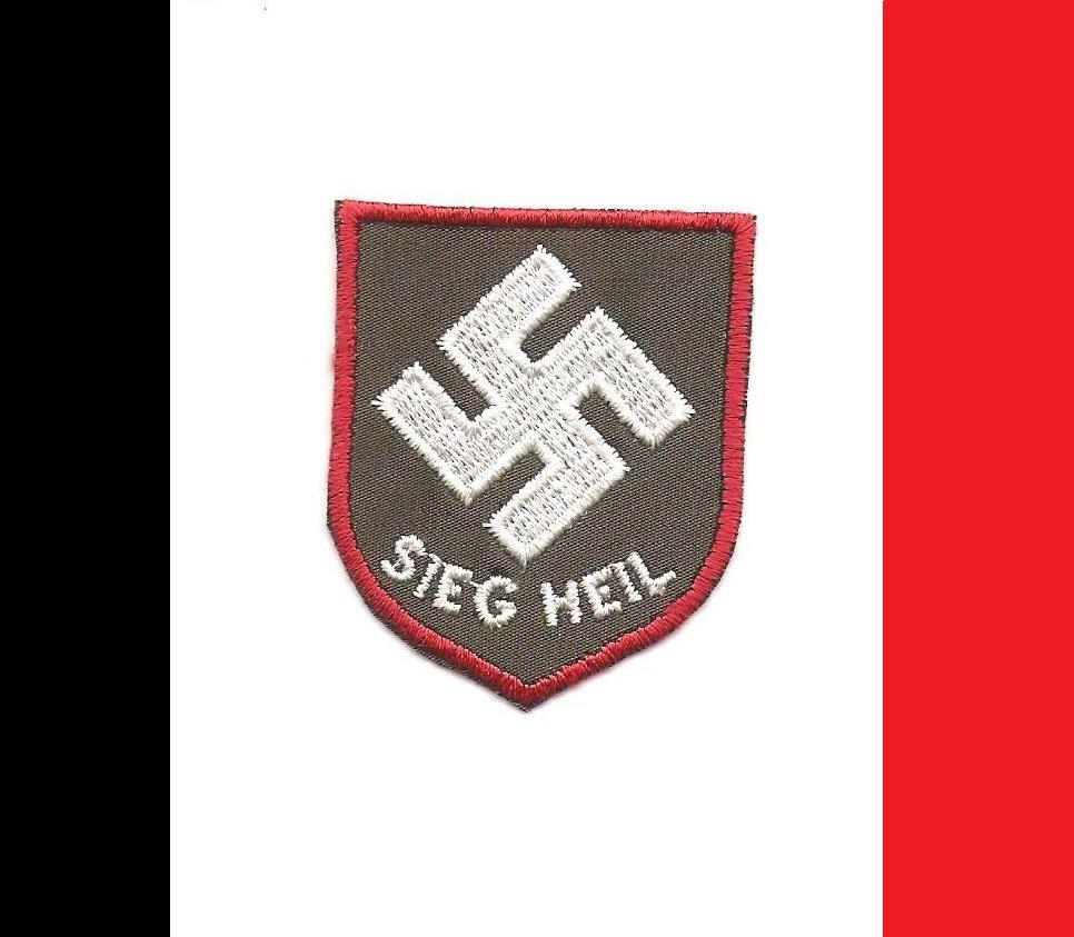 """WW2 Nazi Germany """"SIEG HEIL"""" Saw On Swastika Patch"""