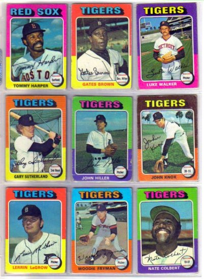1975 TOPPS GATES BROWN #371 TIGERS