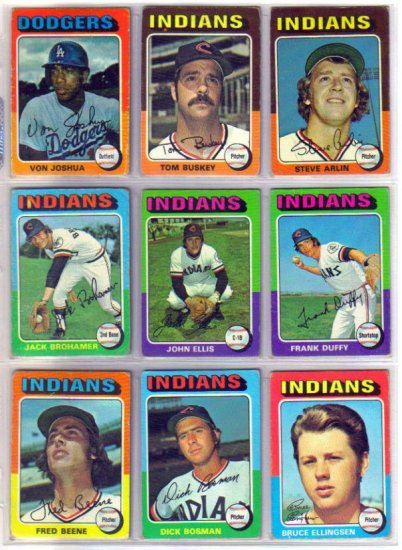 1975 TOPPS JOHN ELLIS #605 INDIANS