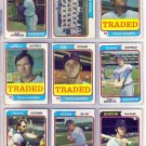 1974 TOPPS TRADED LARRY GURA #616T RANGERS