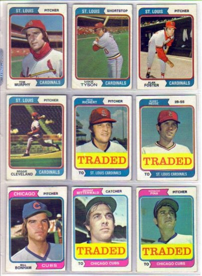 1974 TOPPS TRADED GEORGE MITTERWALD #249T CUBS