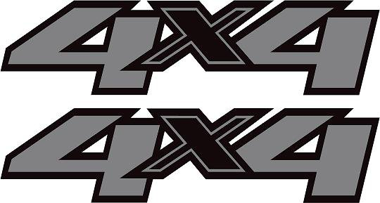 Chevy Ford Dodge Gmc 4x4 Silver And Black Truck Decal