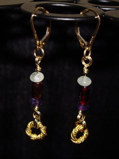 Medusa ring gemstone earrings
