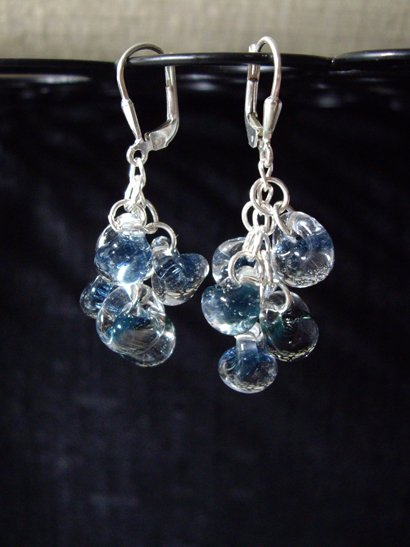 Ocean view effervescent boro glass earrings