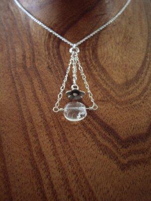 Zen flower silver & gemstone necklace