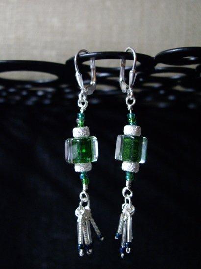 David Christensen Emerald furnace glass dangle earrings