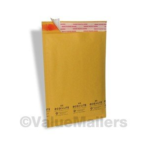 100 #0 KRAFT ECOLITE 6.5x10 BUBBLE MAILERS PADDED ENVELOPES MAILING BAGS CD DVD